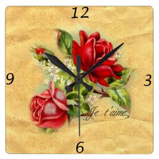 Beautiful romantic elegant vintage red roses square wall clock