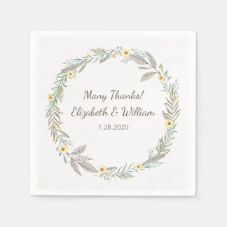 Beautiful Romantic Floral Wreath Garden Wedding Paper Napkins