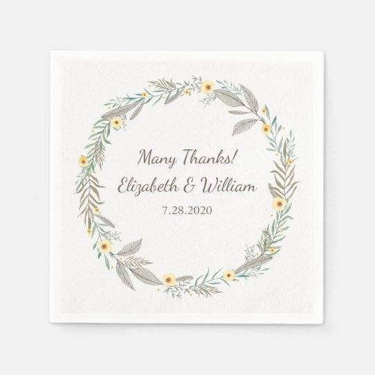 Beautiful Romantic Floral Wreath Garden Wedding Paper Napkins