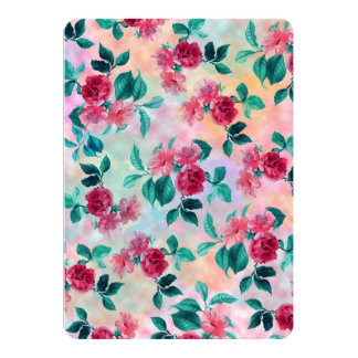 Beautiful romantic watercolor roses floral pattern card