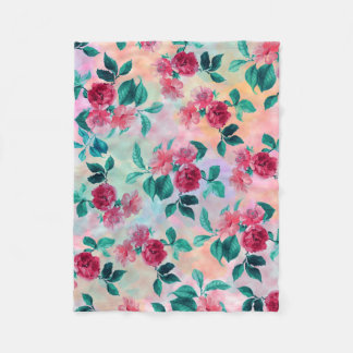 Beautiful romantic watercolor roses floral pattern fleece blanket