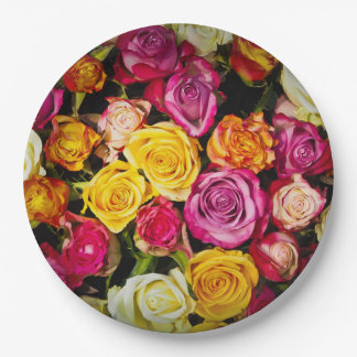 Beautiful Rose Collage Print Party Paper Plates