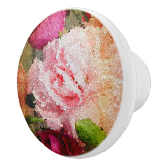 Beautiful Rose Floral Abstract Ceramic Knob