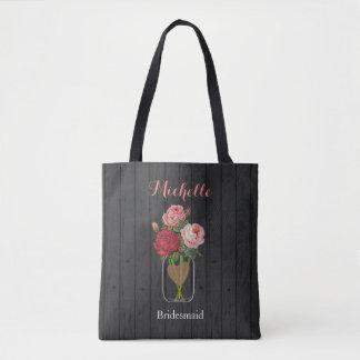 Beautiful Rose Mason Jar - Team Bride Tote Bag