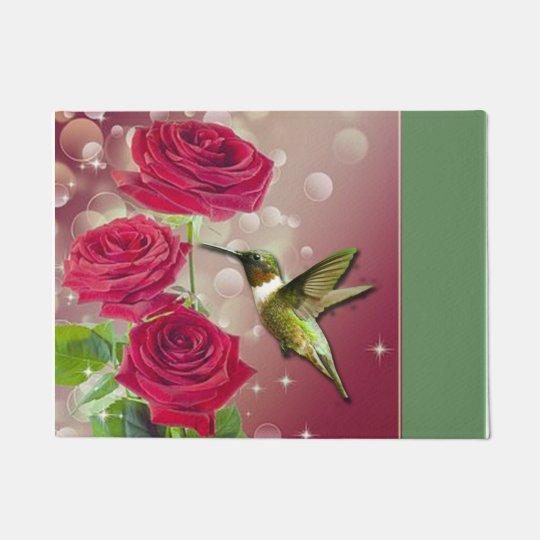 Beautiful Roses & Bird Doormat