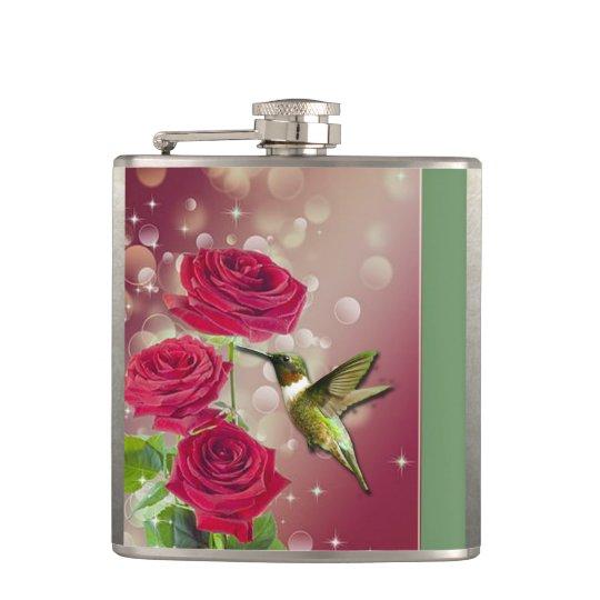 Beautiful Roses & Bird Hip Flask