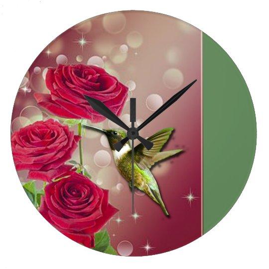 Beautiful Roses & Bird Large Clock