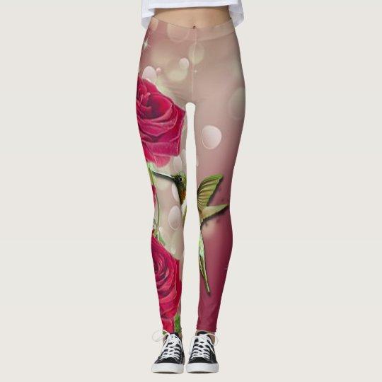 Beautiful Roses & Bird Leggings