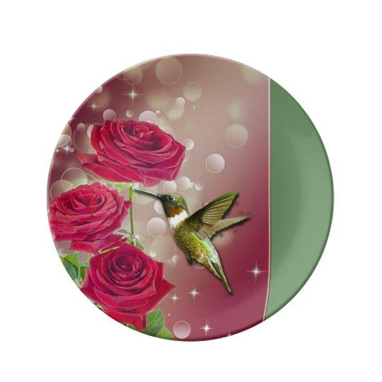 Beautiful Roses & Bird Plate
