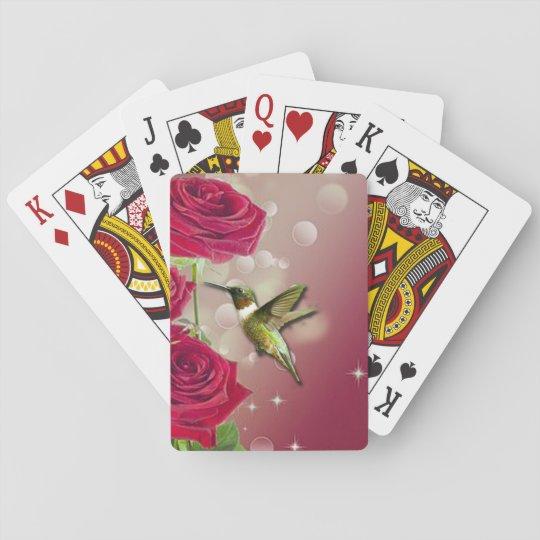 Beautiful Roses & Bird Playing Cards