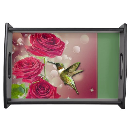 Beautiful Roses & Bird Serving Tray