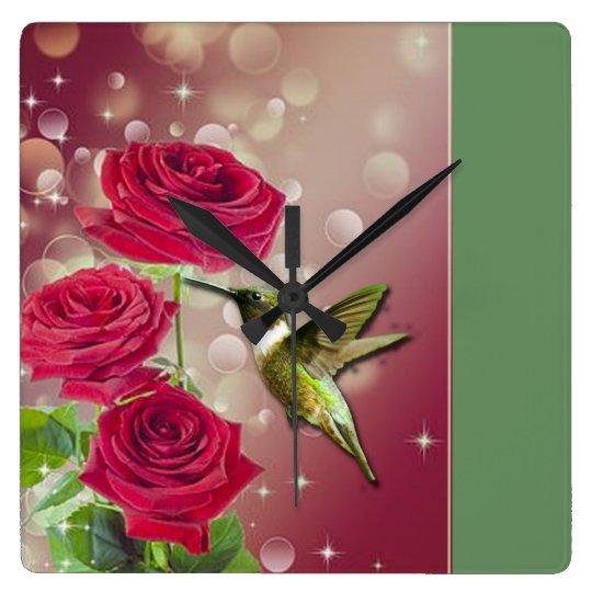 Beautiful Roses & Bird Square Wall Clock