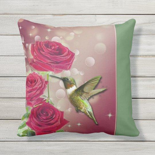 Beautiful Roses & Bird Throw Pillow