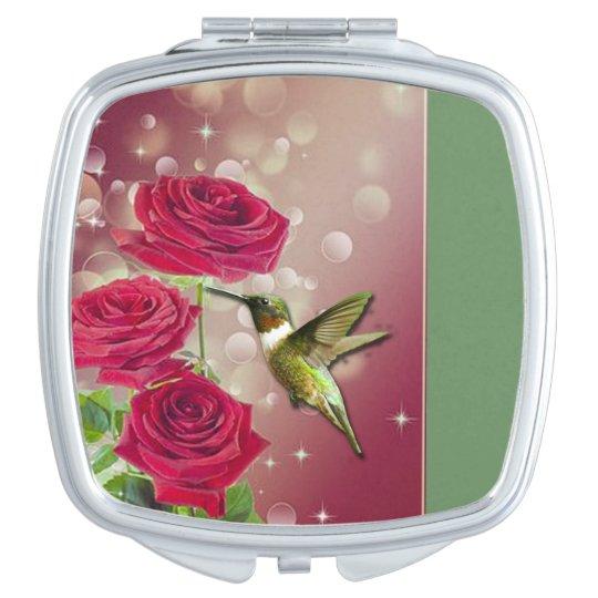 Beautiful Roses & Bird Travel Mirror