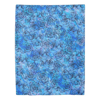 Beautiful roses on blue background pattern duvet cover