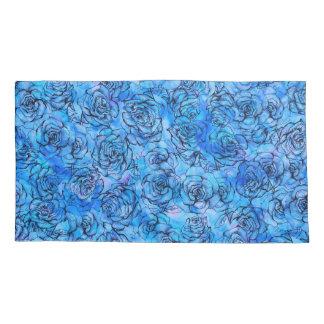 Beautiful roses on blue background pattern pillowcase