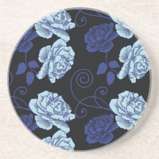 Beautiful roses on gray background pattern drink coaster