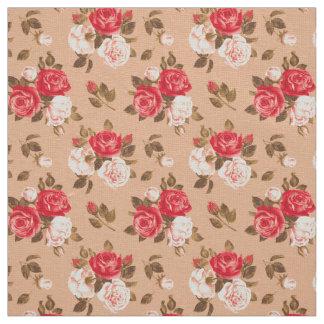 Beautiful Roses Pattern Custom Ivory Linen Fabric