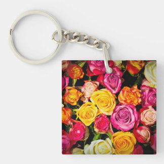 Beautiful Roses Single-Sided Square Acrylic Keychain