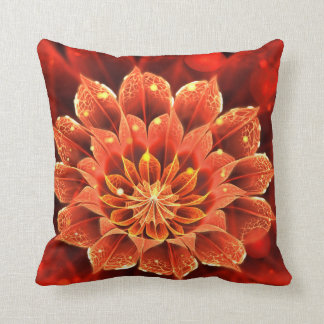 Beautiful Ruby Red Dahlia Fractal Lotus Flower Throw Pillow