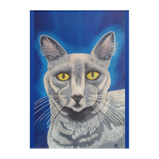 Beautiful Russian Blue cat watercolor portrait Acrylic Wall Art