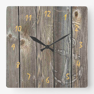 Beautiful rustic anchor on authentic looking wood clock