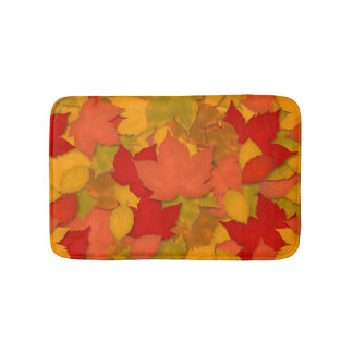 Beautiful Rustic Fall or Autumn Leaves Bath Mat