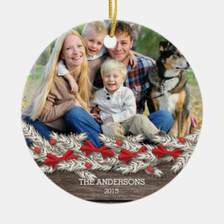 Beautiful Rustic Family Photo Christmas Round Ceramic Ornament
