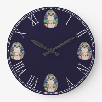 Beautiful Rustic Owl Bird Colourful Retro Large Clock