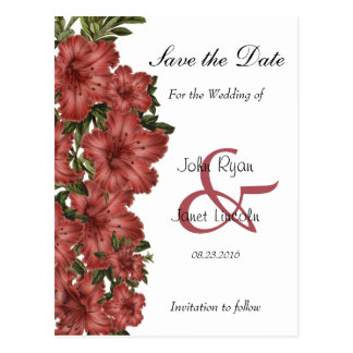 Beautiful Rusty Red Lilies - Save The Date Postcard