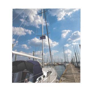 Beautiful Sailboat at Pier Notepad