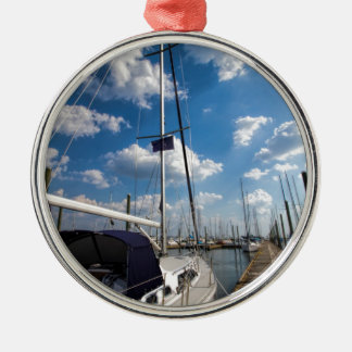 Beautiful Sailboat at Pier Silver-Colored Round Ornament