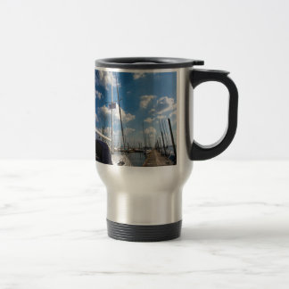 Beautiful Sailboat at Pier Travel Mug