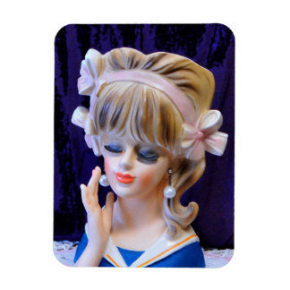 Beautiful Sailor Girl Head Vase Doll Pink Bows Magnet