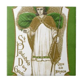 Beautiful saint patrick old poster tile