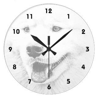Beautiful Samoyed dog art Large Clock