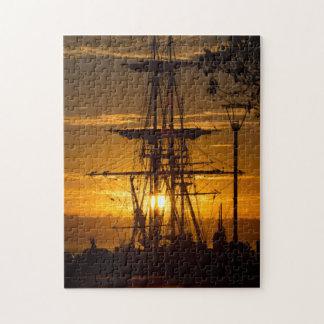 Beautiful San Diego Sunset with Tall-Mast Ship Jigsaw Puzzle