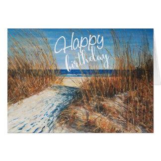 Beautiful Sand Dunes Beach Painting Happy Birthday Card