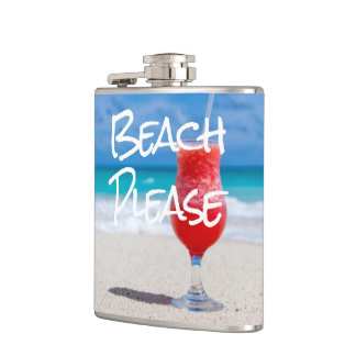 Beautiful Sandy Beach Please Red Daiquiri Drink Hip Flask