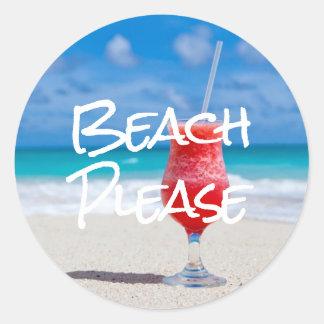 Beautiful Sandy Beach Please Red Daiquiri Sticker
