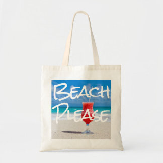 Beautiful Sandy Beach Please with Red Daiquiri Tote Bag