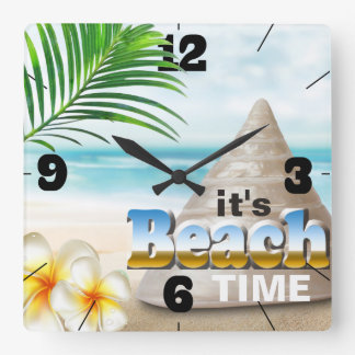 Beautiful Sandy Beach Seashell Square Wall Clock