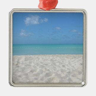 Beautiful Sandy Beach Silver-Colored Square Ornament