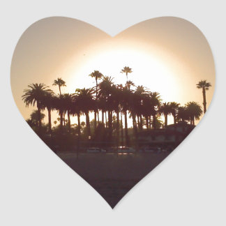 Beautiful Santa Barbara beach sunset Heart Sticker