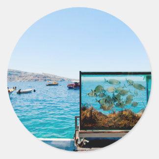 Beautiful Santorini sea view Classic Round Sticker