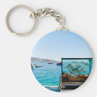 Beautiful Santorini sea view Keychain