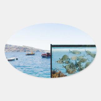 Beautiful Santorini sea view Oval Sticker