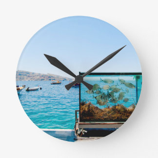 Beautiful Santorini sea view Round Clock