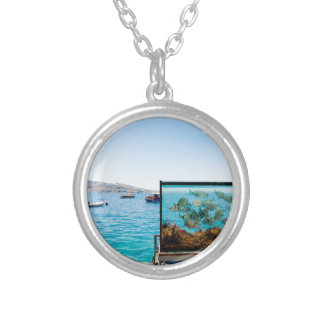 Beautiful Santorini sea view Silver Plated Necklace