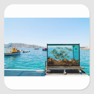 Beautiful Santorini sea view Square Sticker